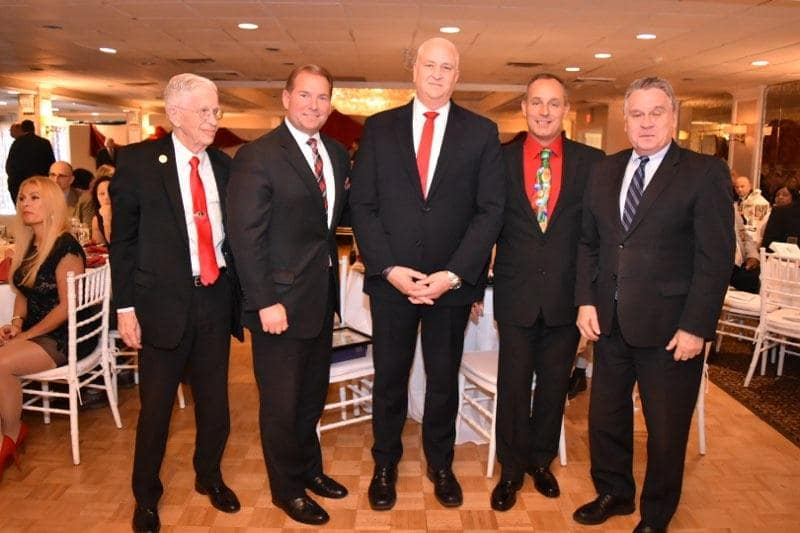 Senator Sam Thompson, Sheriff Shaun Golden, National FOP President Pat Yoes, Lodge President Reece, and Congressman Chris Smith